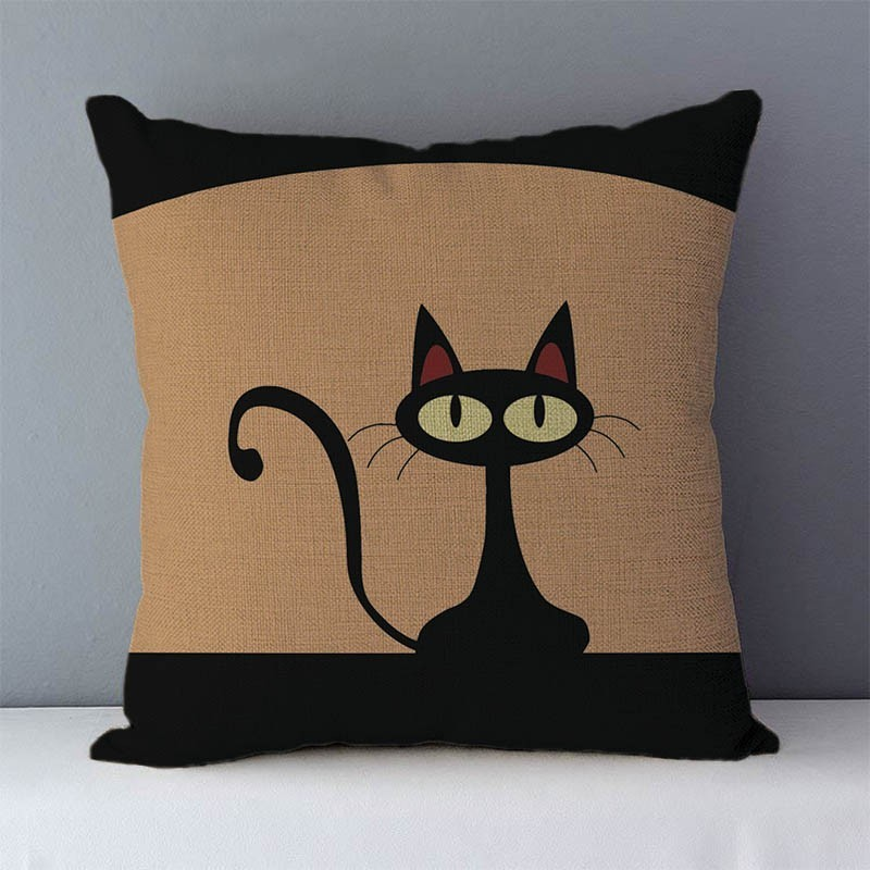 HTB15l9jXoLrK1Rjy1zbq6AenFXac Selected Couch cushion Cartoon cat printed quality cotton linen home decorative pillows kids bedroom Decor pillowcase wholesale
