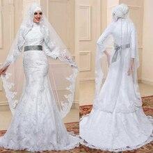 Custom amde High Quality Muslim Abaya Hijab Wedding Dresses Elegant Mermaid Wedding Dress with Sash Wedding Gown