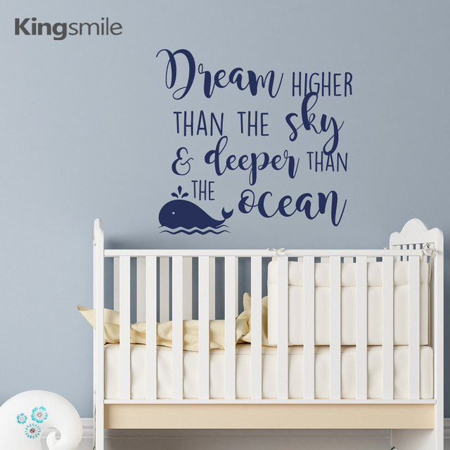 Dream Higher Than The Sky Whale Wall Decals Inspirational Quotes Nursery Sticker Vinyl Kids Boys