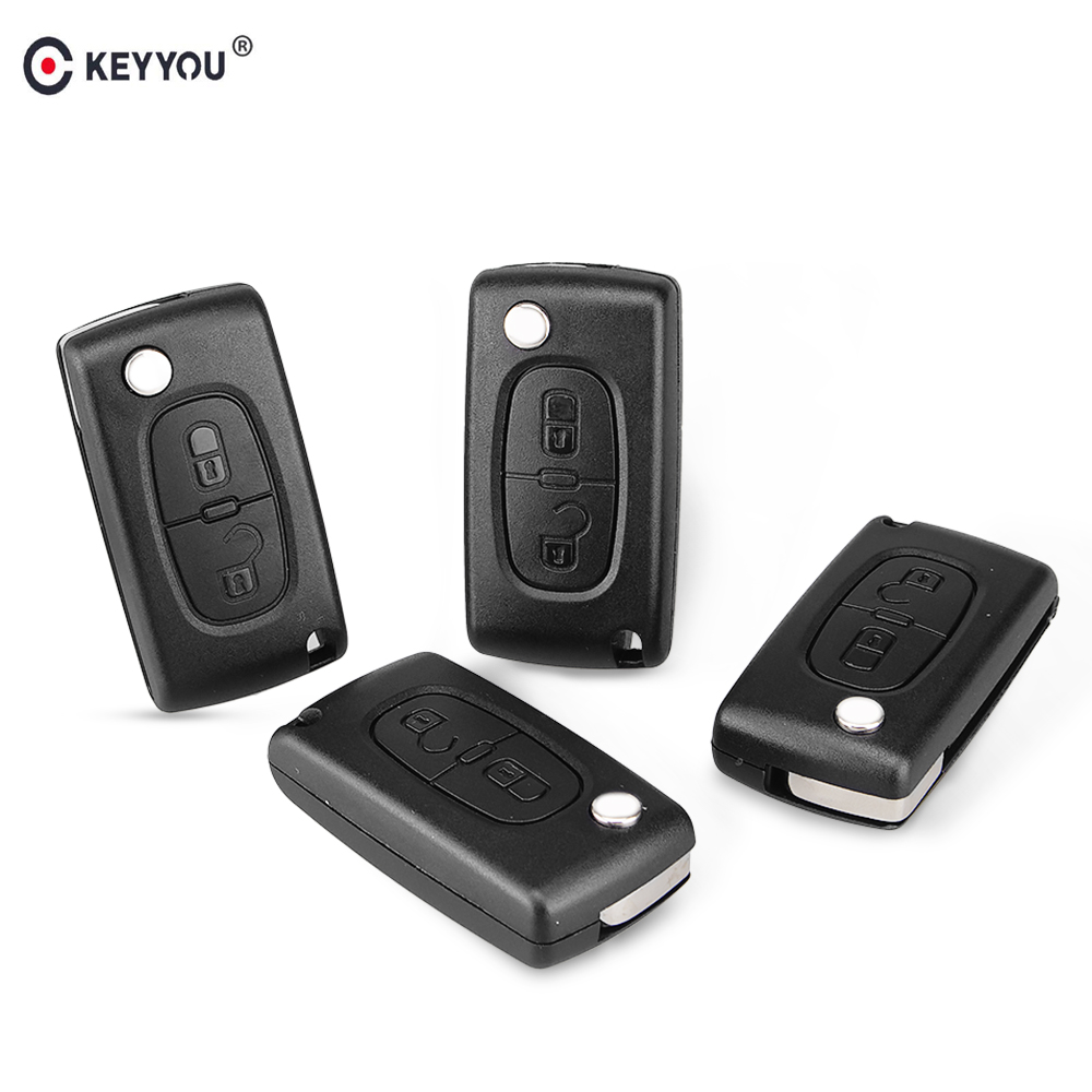 KEYYOU 2 Button Remote Key Shell Flip Floding Car Key Case Fob For Peugeot 107 207 307 307S 308 407 607 2BT DKT0269 CE0536 2 button flip remote key fob case shell blade keychain for peugeot 207 307 308