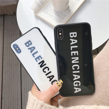 France Brand Paris Glass case for iphone X XS Max XR 8 7 6 6S Plus luxury stylish Sports cover for samsung s10 s9 s8 note 9 capa balenciaga case iphone xr