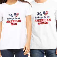 Oringinal Pstyle T shirt for Women and Men Couple T-shirt My heart belong to american women&men  lovers tee shirts brand top