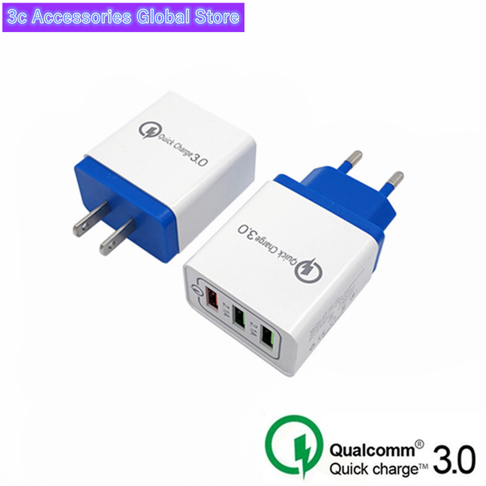Universal 18W USB Quick Charge 3.0 5V 3A For Iphone 7 8 EU US Plug Fast Charger Charging For Samsung S8 S9 Huawei Mobile Phone