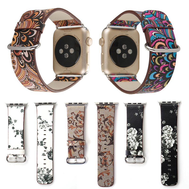 FOHUAS National style Floral Printed Leather Watch Band Strap for Apple Watch Flower Design Wrist Watch Bracelet for iwatch 38mm faux leather strap floral face watch