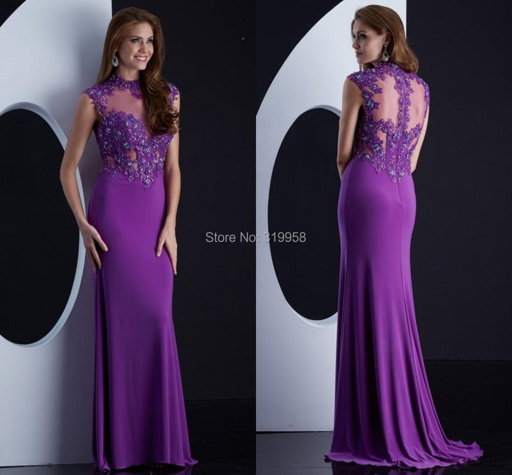Wholesale 2015 High Neck Sexy See Through Long Purple Cheap Price ...