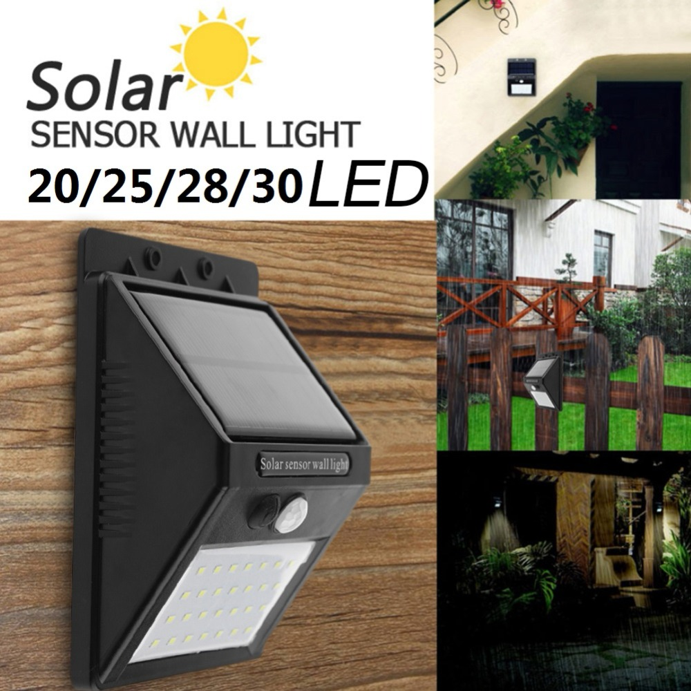 Solar LED Light 20/25/28/30 LED Power PIR Motion Sensor Wall Lamp Energy Saving Waterproof Outdoor Garden Street Security Lights