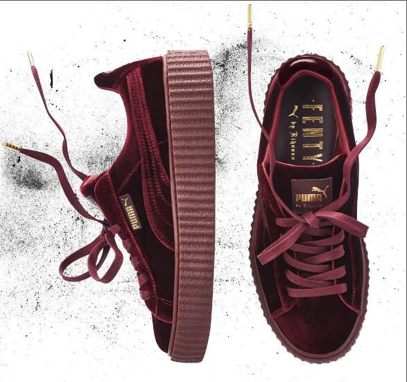 1f4b7311240b2 2018Puma shoes puma Velvet thick-soled platform shoes Shoes for men and women  velvet red size 36-44