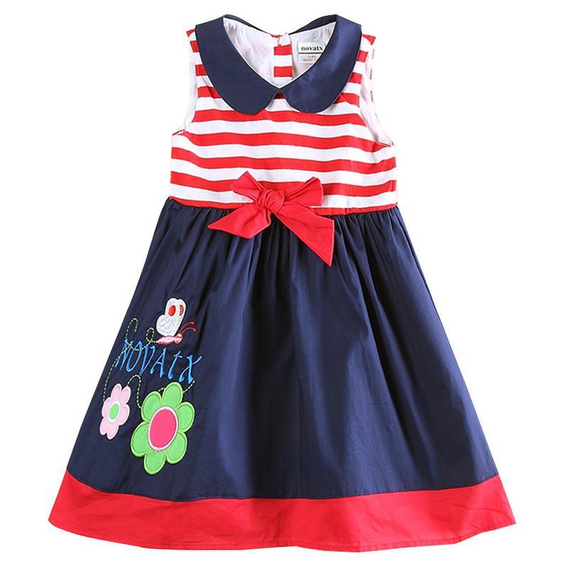Fille robe enfants vêtements princesse robe florale pour filles Nova été arc bébé fille robe 100% coton filles vêtements H5746