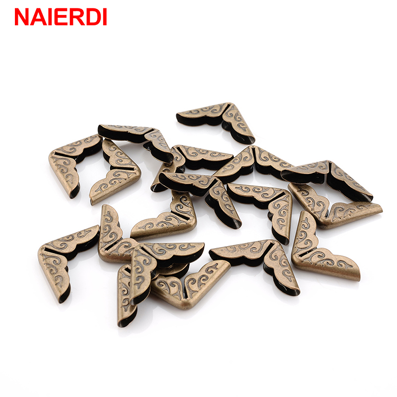NAIERDI 100pcs 15x15x3mm Antique Brass Metal Book Scrapbooking Notebook Albums Menus Folders Corner Protectors Bronze Tone