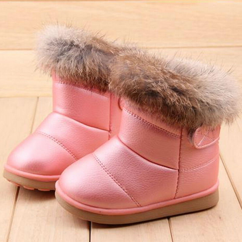 Shoes For Girls Boots Winter Warm Wool Plush Soft Rubber Boot Baby Rabbit Hair Fur Rubber Soles Children Snow Boots Kids sale