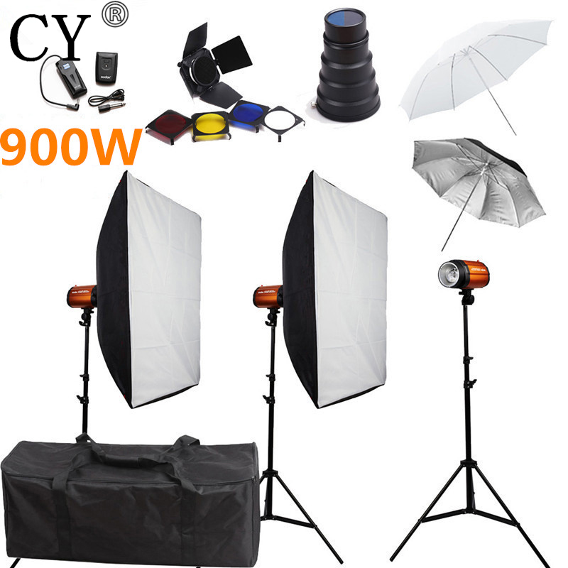 CY Photography Soft Box Flash Lighting Kits 900w Strobe Light Softbox Stand Set Photo Studio Accessories Godox Smart 300SDI