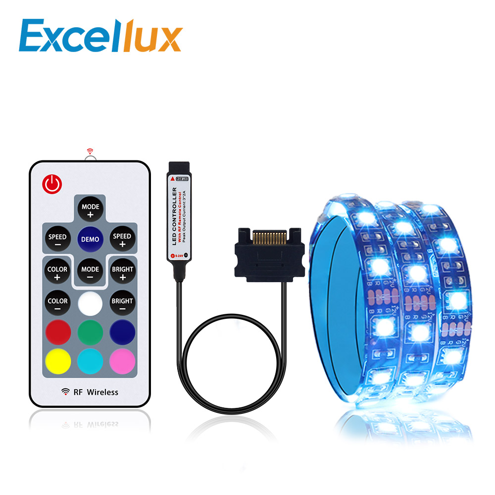 RGB LED Strip Light For PC Computer Case, SATA Power Supply Interface + 17key RF Remote Controller Wireless 1M 2M Led Strip 5050