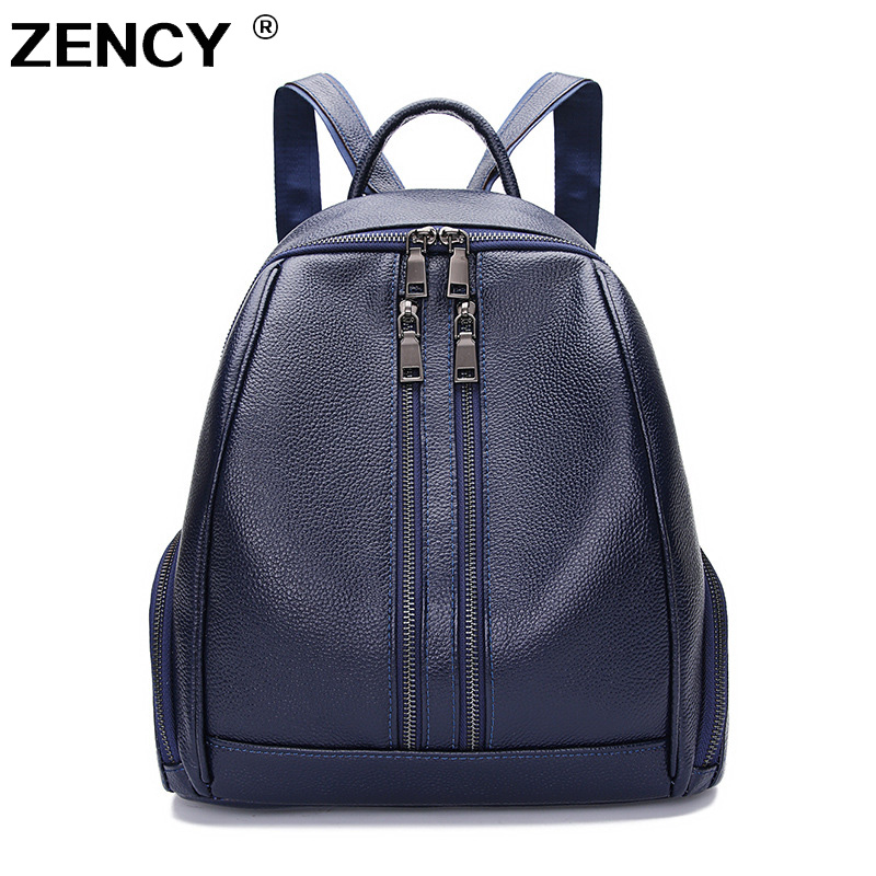 ZENCY 100% Genuine Leather Women Daily Backpack Real First Layer Cow Leather Ladies' Backpacks Travel ipad Cowhide Female Bags zency genuine leather women backpack fashion brand real cow skin backpacks young girl school bags knapsack rucksack