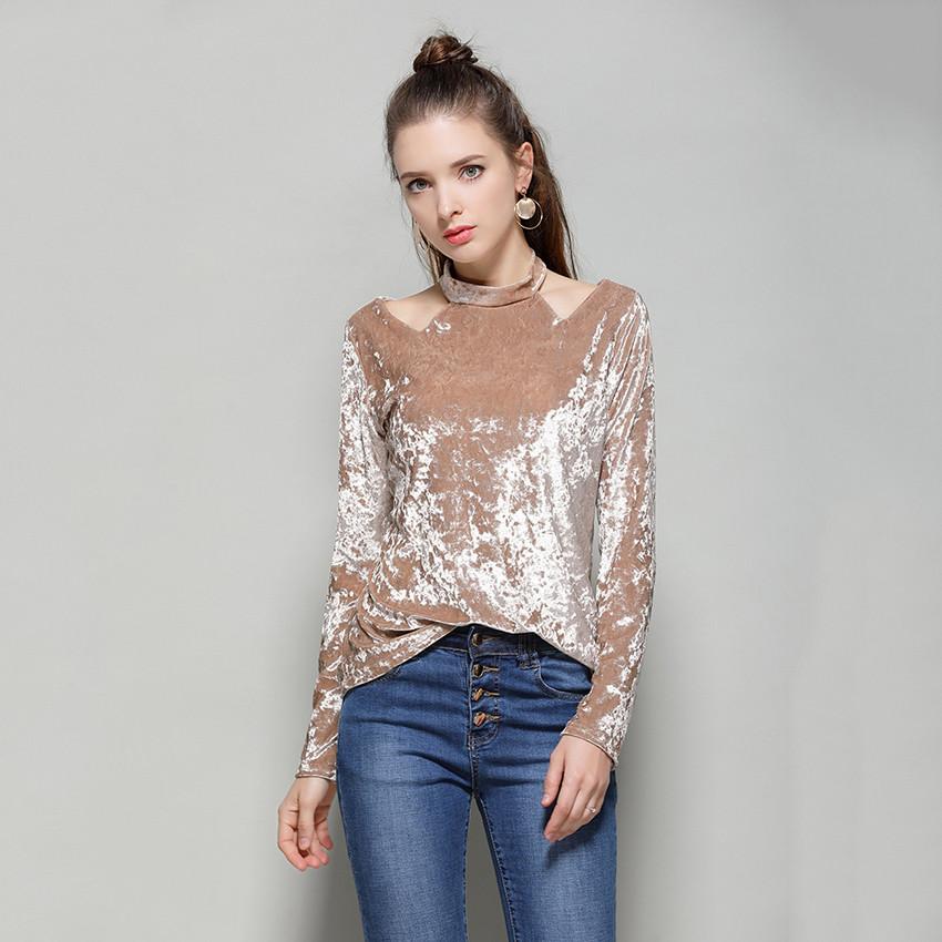 09ba8bec459553 European Fashion Autumn Winter Velvet Blouse Womens Tops And Blouses Halter  Neck Long Sleeve Elegant Blusas Mujer De Moda 2017