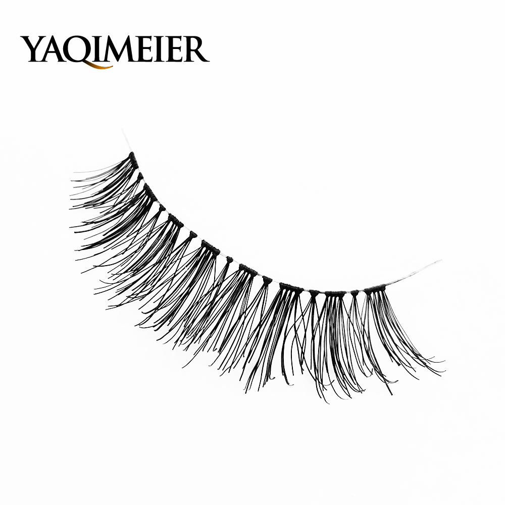 YAQIMEIER Real Human Hair Eyelashes 2017 Korea Women Natural Top Lash False Eyelashes High Quality