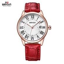 Weiqin Reloj de Cuero Genuino de la Venta Caliente de La Manera Señoras de Las Mujeres del Estilo de Roma de Cristal Fecha Caja Oro Rosa Reloj reloje de mujer 2016