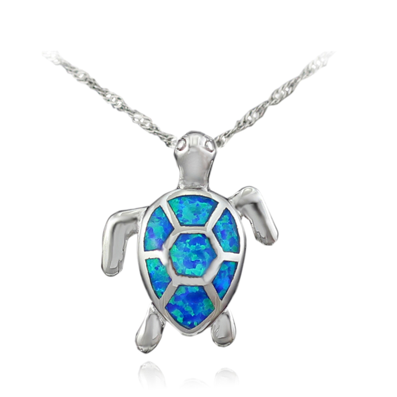 HAIMIS Gratis The Chain Free Gift Box Schattig BlueFire Opal SeaTurtle Design Hanger Ketting Voor Dames OP408