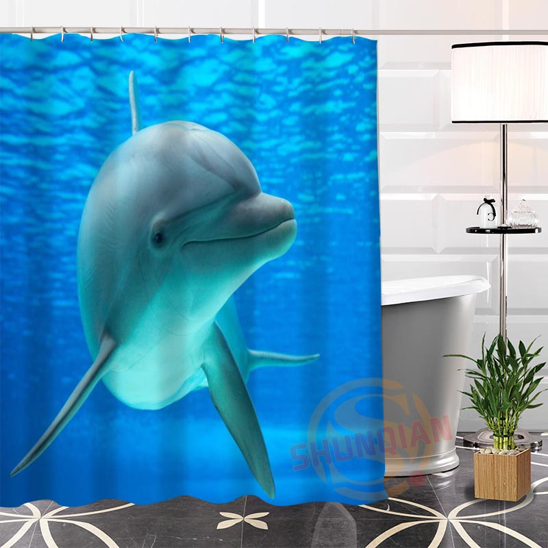100% Polyester Custom Popular funny dolphin@2 Fabric Modern Shower Curtain bathroom Waterproof New arrival H0223-48