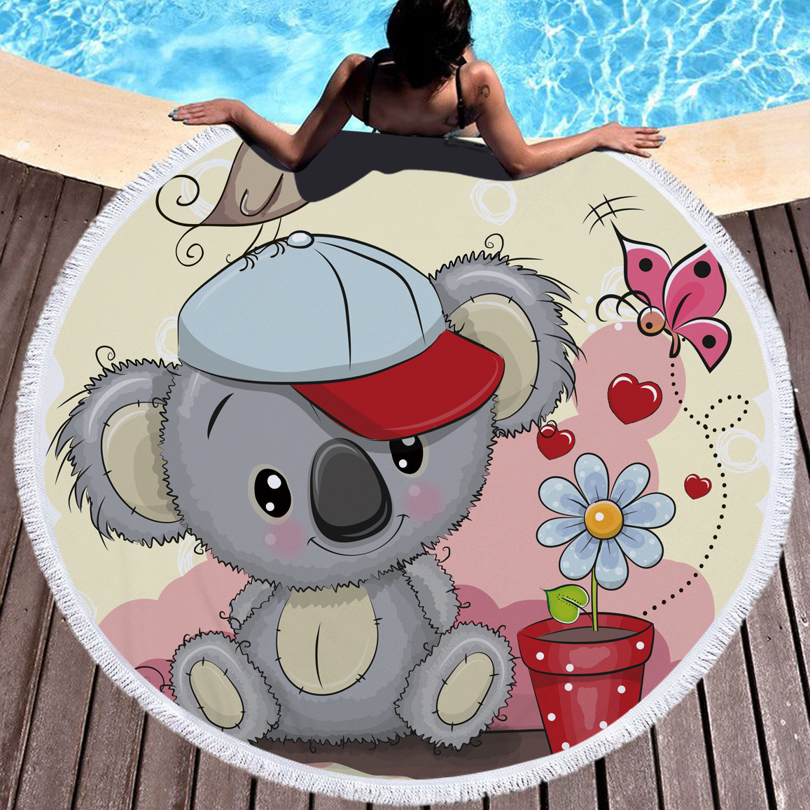 Cute Adorable Animal Koala Bear Round Towel Beach Microfiber Throw Bath Mat Towel Serviette De Plage Drap De Bain Toalla Redonda