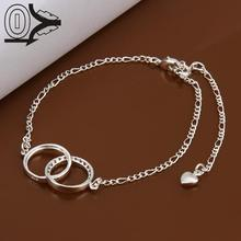 Lose Money!!Wholesale Silver Plated Anklets,Fashion Silver Jewelry,Double Circles Zircon Stone Charms Anklet