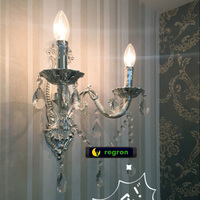 European Candle Crystal Wall Lamp Living Room Dining Room Silver Double Head Sconce Wall Lights Warm antique Led Wall Light
