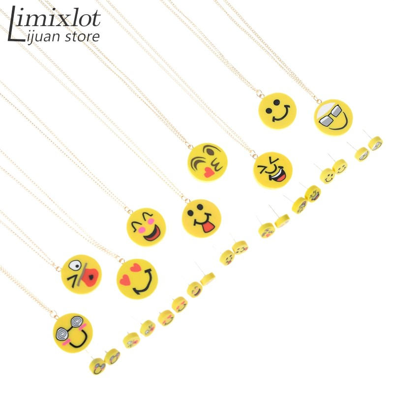 Cute Emoji Expression Jewelry Sets Polymer Clay Necklace Stud Earrings Vintage Gold Chain Jewelry For Women Girls Gift