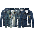 New 2016 military style fashion denim jacket men hole vintage slim fit male jacket chaqueta hombre men's clothes size m-5xl