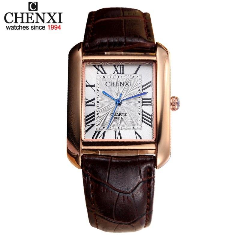 Chenxi Top marca hombre relojes cuero Correas de reloj rectángulo dial casual reloj de cuarzo hombres regalos masculinos deportes Relojes