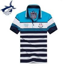 Tace & Shark brand polo shirt men fashion striped cotton breathable camisa polo high quality business polo shirt shark polo men