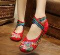 Плюс Размер 41 Мода женская Обувь Богема Квартиры Вышитые Туфли Мягкой Подошвой Мэри Джейн Случайные Ткань Обувь Женщина