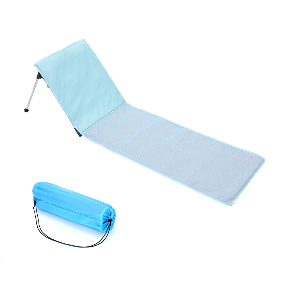 Beach Vacation Comfortable Folding Sun Lounger Chair Outdoor Camping Bed Portable Aluminum Alloy Single Bed With Cotton Cushion