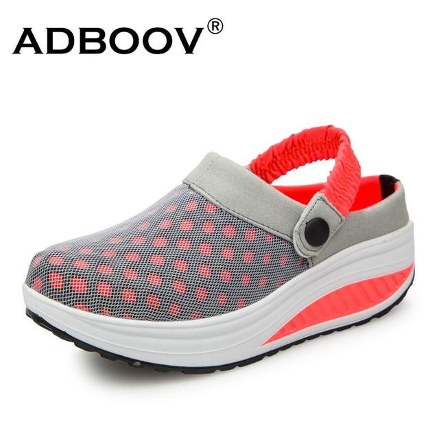 UPS Forma ADBOOV Sandálias de Cunha Mulheres Sapatos De Malha Aérea de Verão Sandálias Plataforma Chinelos Desliza Tamancos Das Mulheres Zapatos Mujer Verano