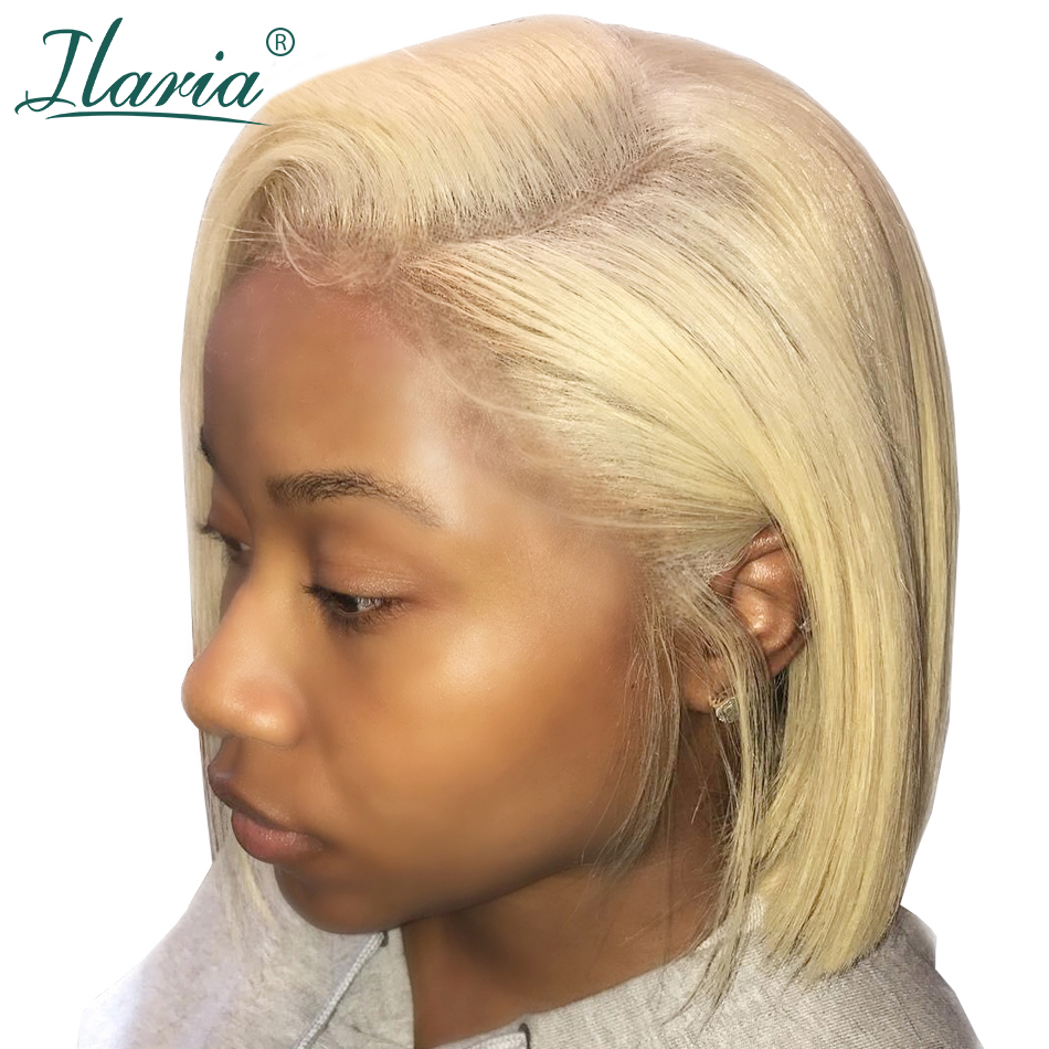 Blonde Lace Front Human Hair Wigs For Black Women Pre Plucked Short Bob Wig Dark Roots 1B 613 Human Wig With Baby Hair Ilaria(China)