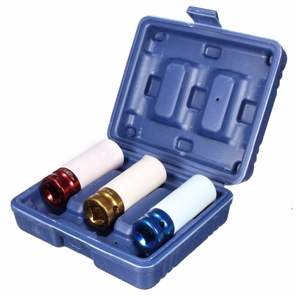 3PC Non- Marring Lug Nut Socket Alloy Thin Wall Wheel Nut Deep Impact Socket Drive Set 17mm 19mm 21mm CR-MO цена