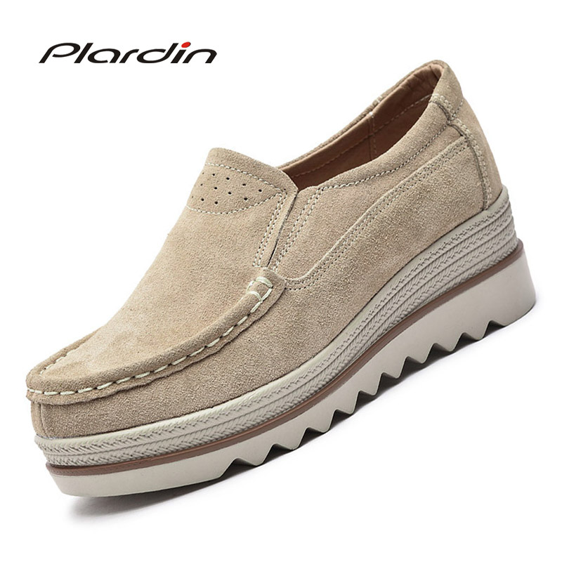 Plardin New Women Flat Platform Coin Loafers   Suede     Leather   Slip On Moccains Ladies Spring Shoes Flats Women Creepers Sneakers