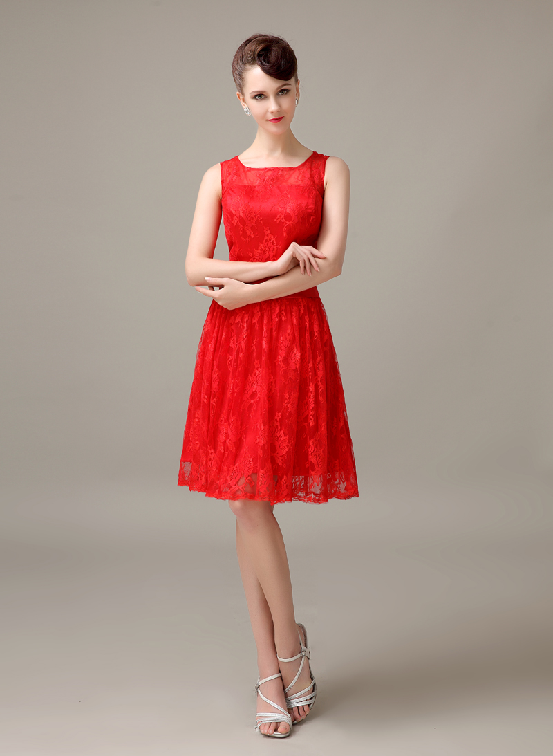 red lace short cheap simple discount modest bridesmaid dress wedding ...