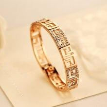 CNANIYA-pulsera De Oro rosa con cristales para Mujer, brazalete, pulsera De Oro rosa, Dorado