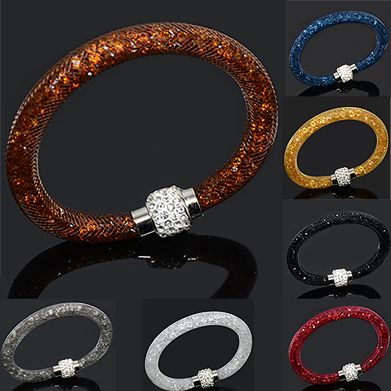 LFPU Beautiful Design Multicolor Clay Crystal Magnetic Clasp Mesh Bracelet With Women Charm Bracelet Men