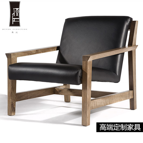 Perfect Mu Fei Single High End Custom Furniture Wood Lounge Chair Leather Sofa DP17  New Chinese ...
