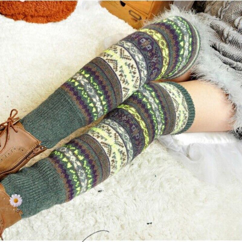 WEIXINBUY Women Winter Elegant Over Knee Long  Knit cover Patchwork Colorful Ladies Crochet Vintage Leg Warmers Legging Chic HTB15lD7gznD8KJjSspbq6zbEXXaC