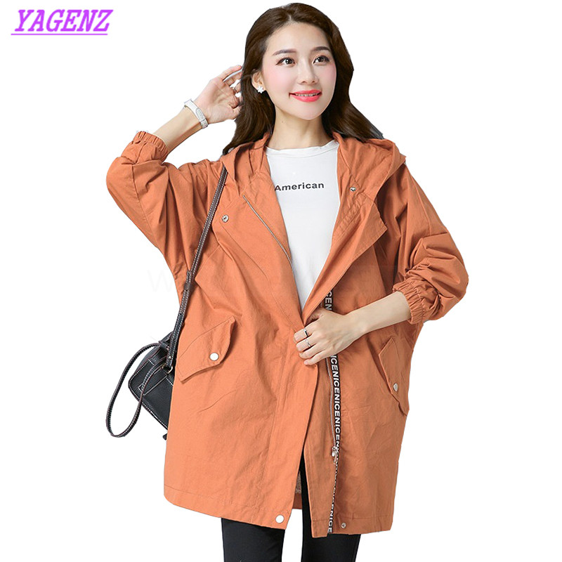 Young Women Fashion Leisure Exquisite Hooded Overcoat Spring Autumn Long Windbreaker coat Women Korean Straight   Trench   coat B326