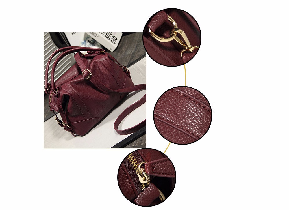 Women Fashion Soft PU Leather Handbag Lichi Pattern Female High Quality Casual Shoulder Bag Classic Solid Tote Dollar Price TTOU (4)