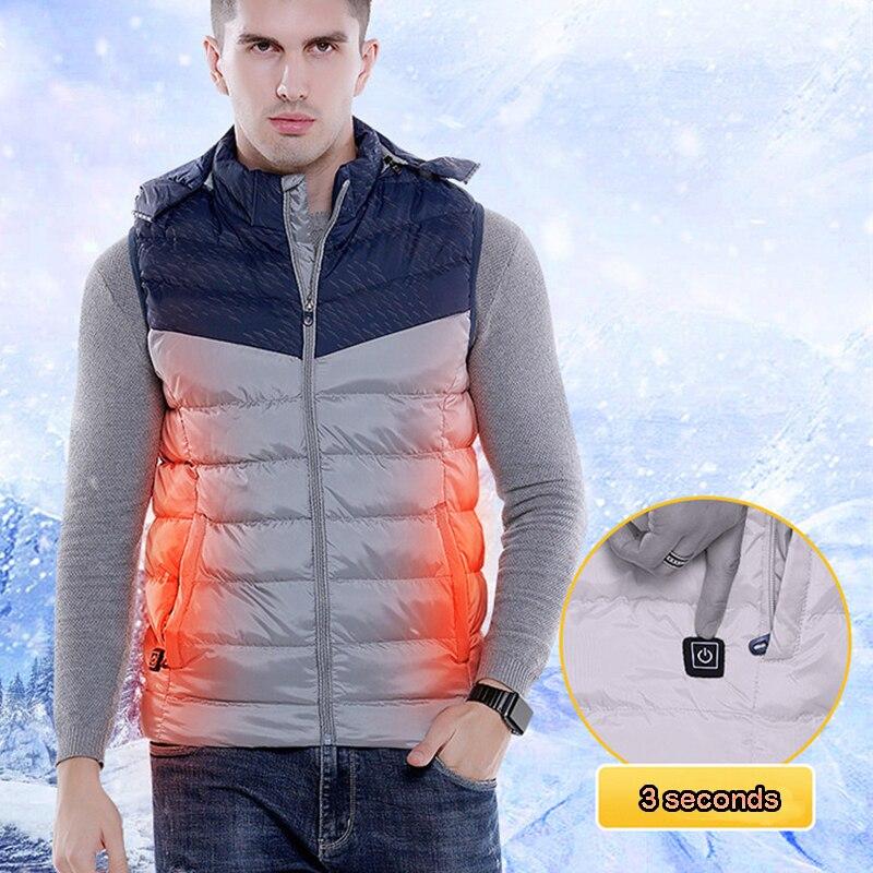 USB Heating Vest Men Women Electric Thermal Clothing Winter Body Heating Warm Vest Smart Thermostatic Waistcoat Plus Size M-5XL m2002 men s fashionable stretch cotton vest white size m