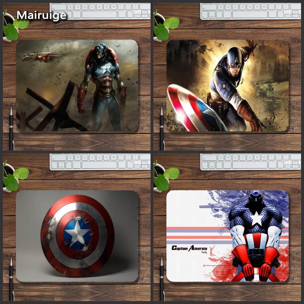 Mairuige Captain America 22x18x2cm Gaming Mouse Pad Rubber Gamer Mouse Mat Pad Game PC Desk Padmouse Laptop Keyboard Mats