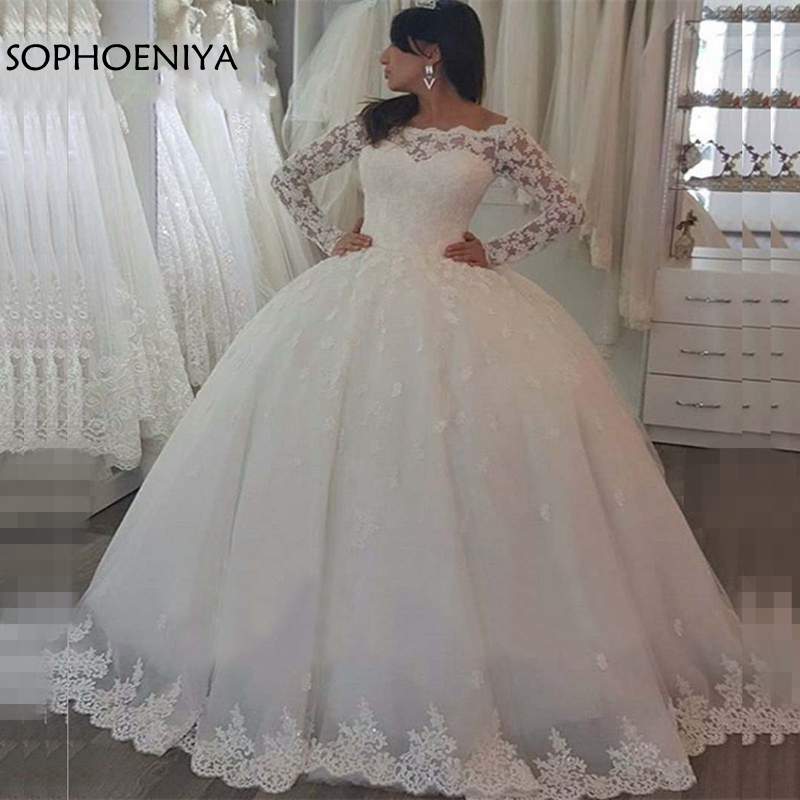 New Arrival Long Sleeve Wedding Dresses 2019 White Ball