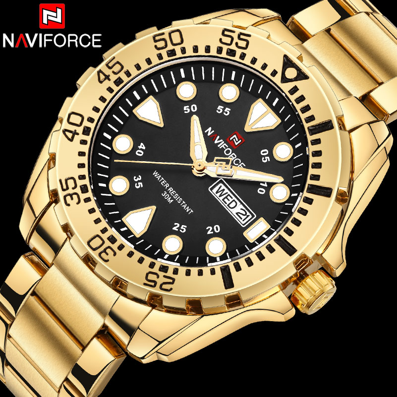 2018 New Arrival NAVIFORCE Brand Men Luxury Watch Men's Sport Watches 30M Waterproof Stainless Steel Analog Quartz Wristwatches