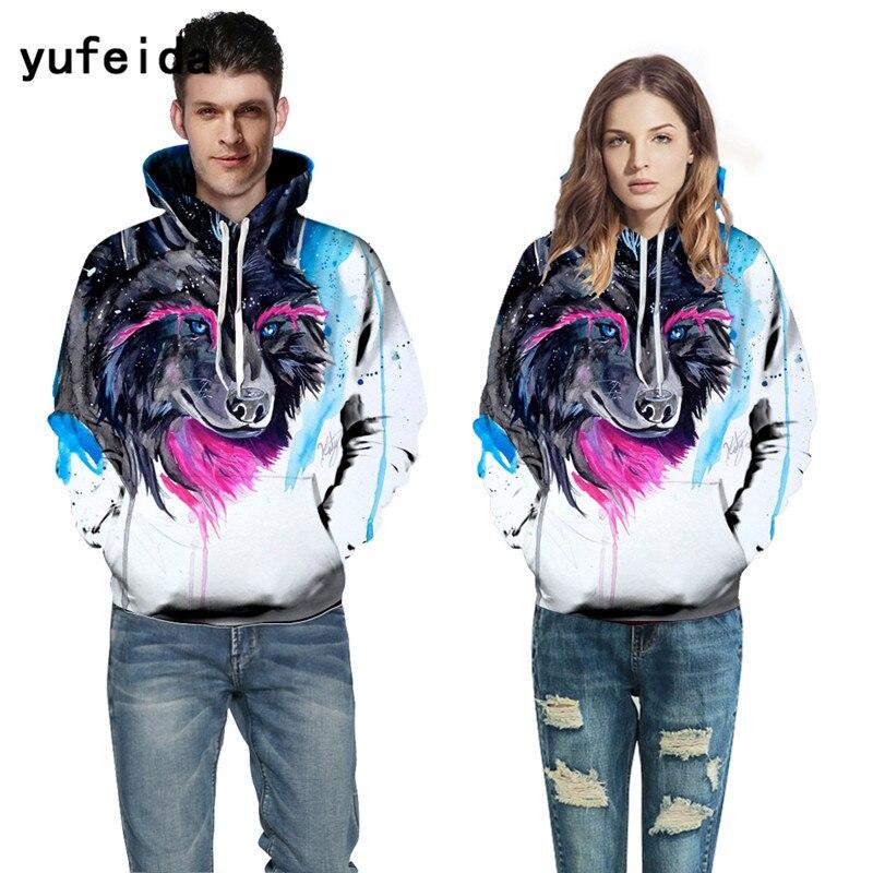 YUFEIDA Cool Men Women 3D Print Hoodies Sweatshirts with Hat Pullover Autumn Winter Tracksuits Harajuku Outwear Casual Hoody