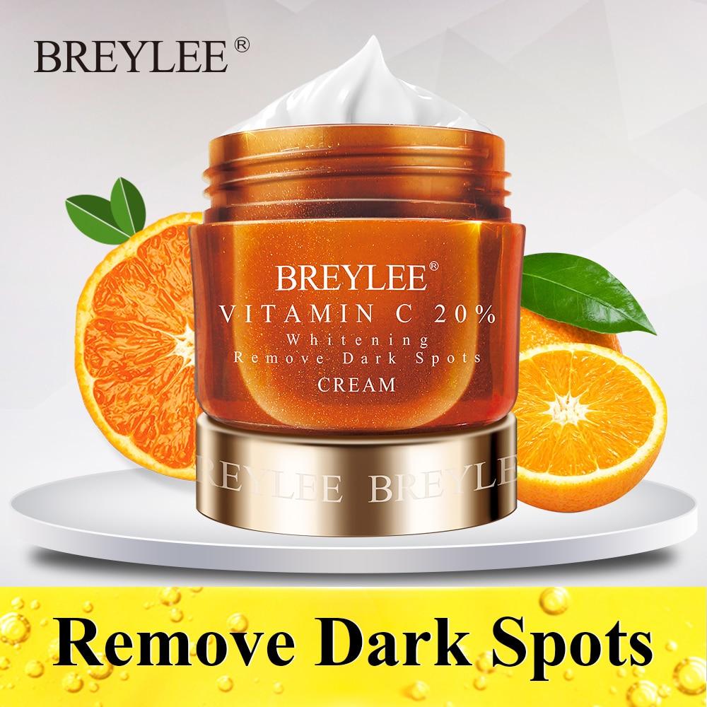 BREYLEE Vitamin C Whitening Facial Cream 20% VC Fade Freckles Remove Dark Spots Melanin Remover Skin Brightening Cream Face Care