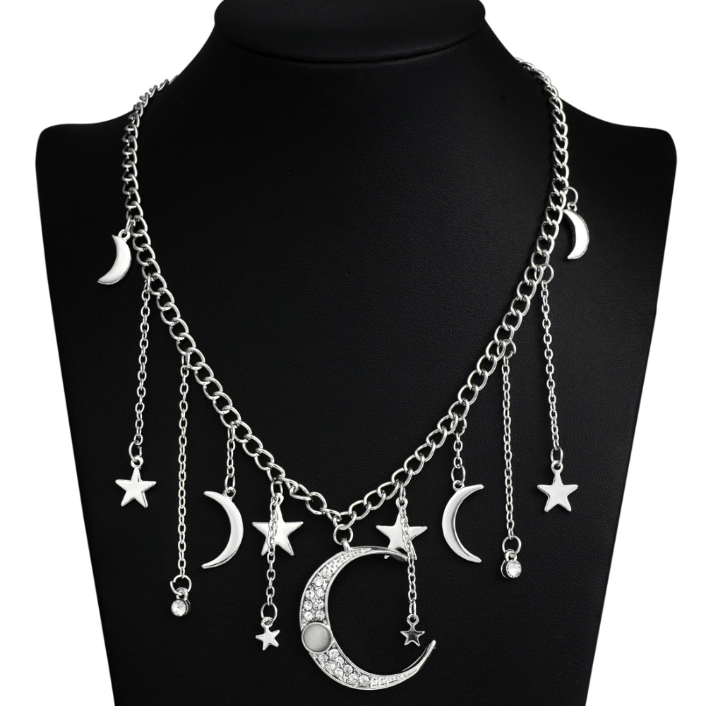 2020 New Women Bling Cubic Zirconia Christmas Gift Moon Star Drop Charm Chocker Choker Statement Necklace Necklace