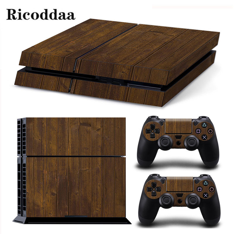 Wooden Design Game Stickers For PS4 Stickers Console Skin PS4 Controller Skins Cover For PlayStation4 Game Accessories